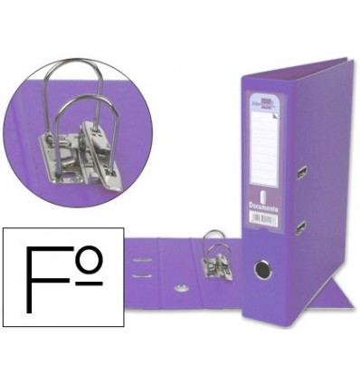 LEVER ARCH FILE LEADERPAPER FOLIO DOCUMENTS PVC SHEATHED WITH RADO LOMO 75 MM LILAC COMPRESSOR METAL