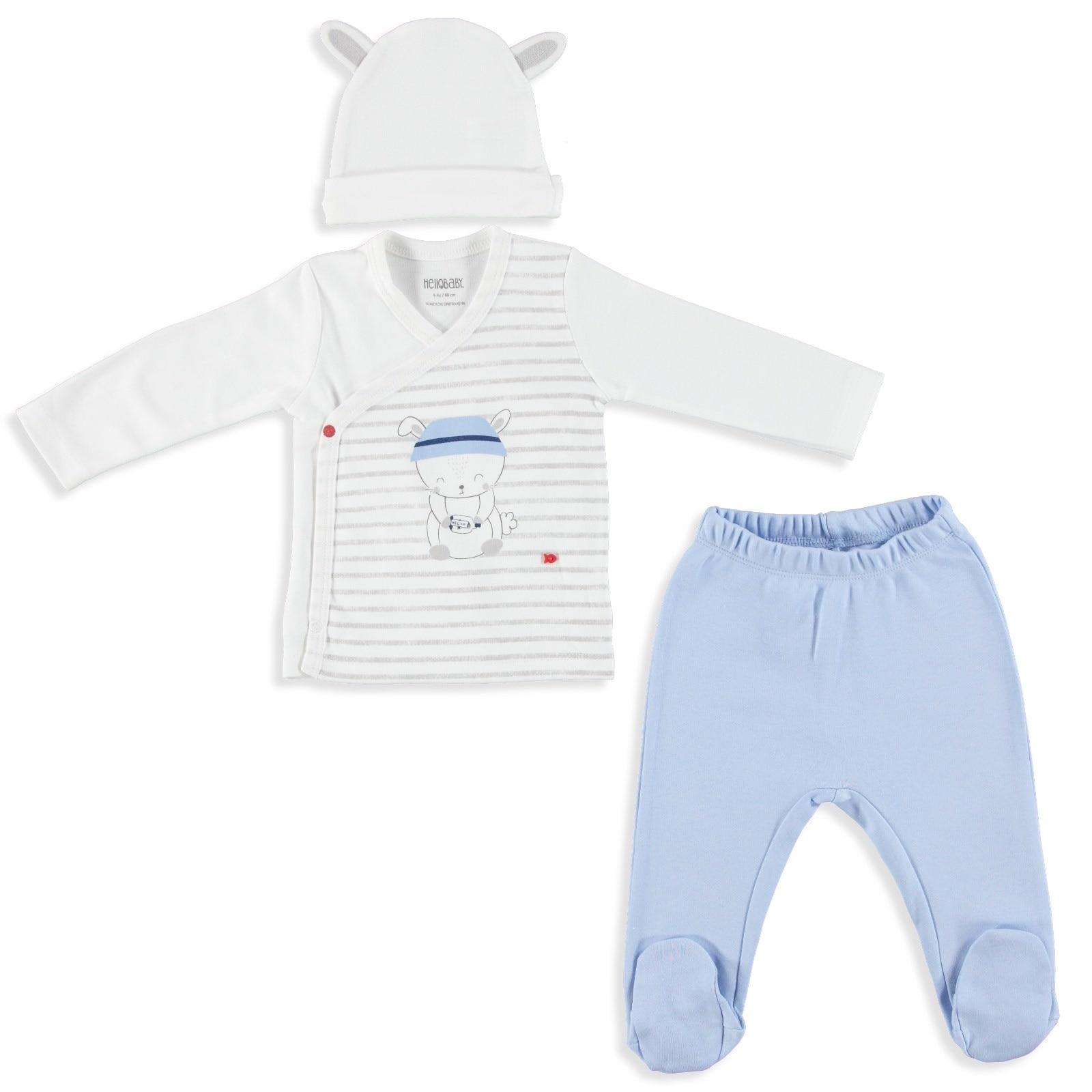 Ebebek HelloBaby Baby Boy Little Fisher Bodysuit Hat Trousers Set
