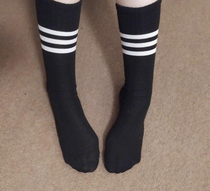Cotton Ladies Knee High 3 Line Striped Cotton Socks Knee High Women Solid Socks School Party Cheerleader Supplies Stockings    - AliExpress