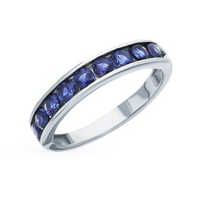 Silver ring with sapphires sunlight sample 925