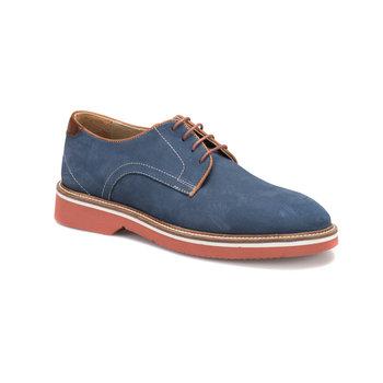 FLO 193 M 1506 granatowe męskie nowoczesne buty Cordovan tanie i dobre opinie Sztuczna skóra