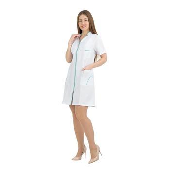Female medical robe ivuniforma silhouette white with green piping female medical robe ivuniforma olesya white with лиловыми inserts