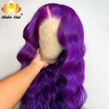 Purple Colored Human Hair Wigs Natural Color 13x4 Body Wave