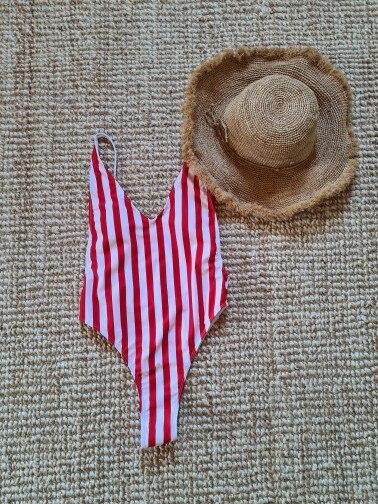 2021 Sexy One Piece Swimsuit Women V-Neck Swimwear Female Striped Print Bodysuit Monokini Backless Bathing Suit Summer Beachwear photo review