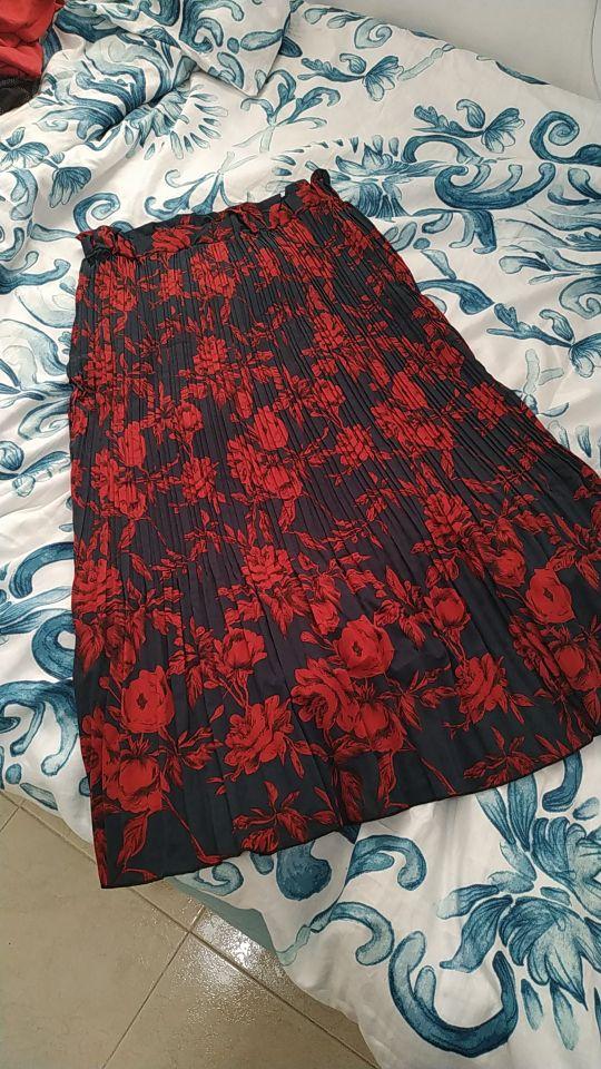 Women Pleated Skirt High Quality Polka Dot Print Midi Skirt Pocket Yellow Green Girl Summer Autumn Skirt Edressu photo review