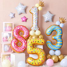 42Inch Donuts Number Balloons Kids Birthday Party Aluminum Foil Balloon Donut Baby Shower Party Decoration Supplies