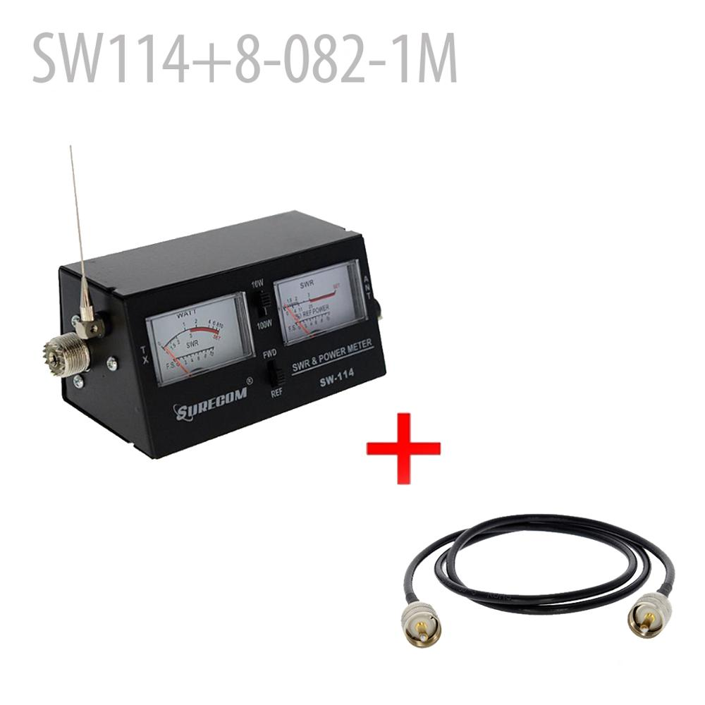 SURECOM SW-114 SWR/RF/Field Strength Test Meter + Adaptor Cable PL259 UHF Male (126700)