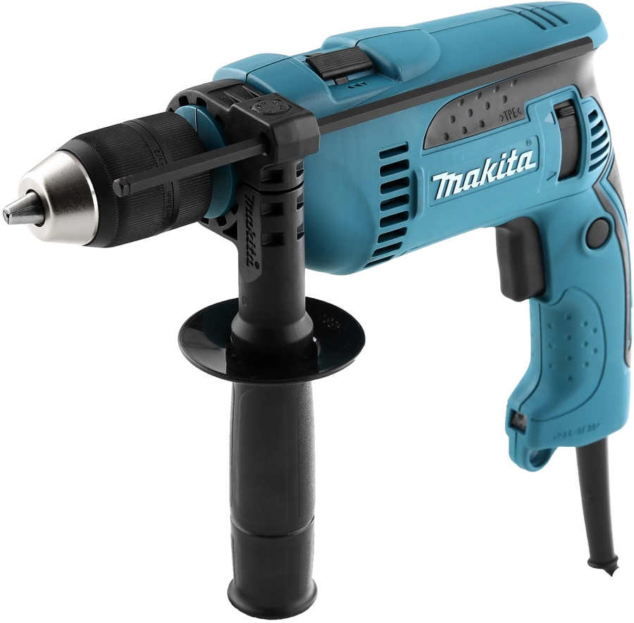Makita impact drill HP1641FK (power 680 W reverse, keyless chuck drilling in wood 30mm)