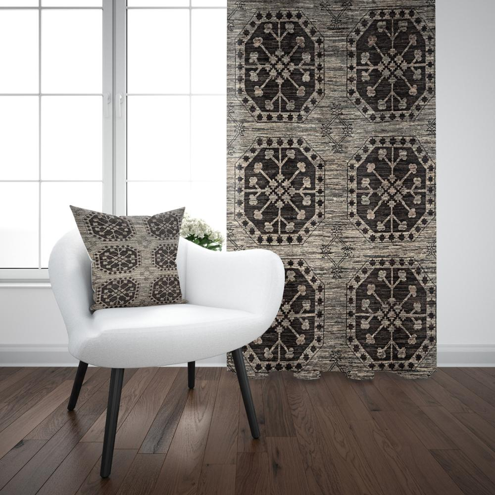 Else Gray Brown Ottoman Vintage Turkish Design 3D Print Living Room Bedroom Window Panel Curtain Combine Gift Pillow Case