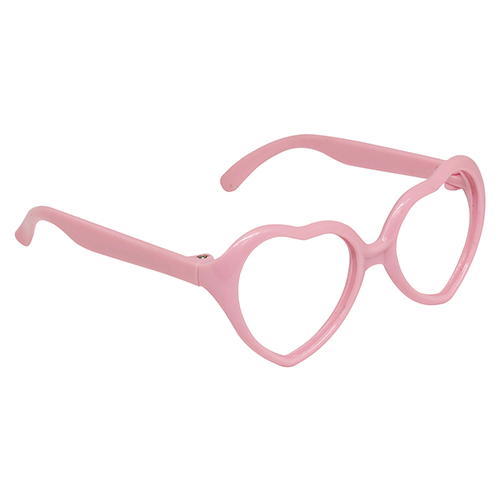 26503 Glasses Without Glass, Heart, Plastic 7,5 Cm, 1 Pc (St. Pink)