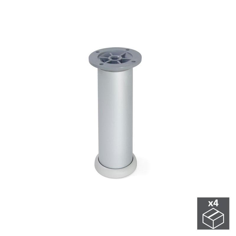 Kit 4 Feet D. 40 Mm Emuca Adjustable 160-180mm Anodized Aluminum Satin