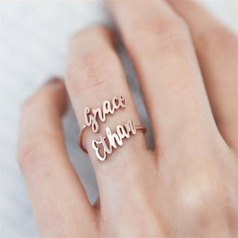 Two Name Rings Custom Double Name Ring Personalized Couples Names Anelli Donna Stainless Steel Boho Jewelry Best Friends Gift
