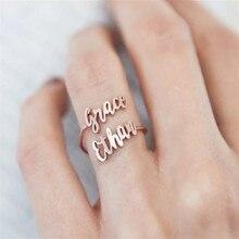 Personalisierte Einstellbare Zwei Name Ring Edelstahl Schmuck Hochzeit Geschenk Benutzerdefinierte Doppel Name Tous Joyeria Mujer Frete gratis