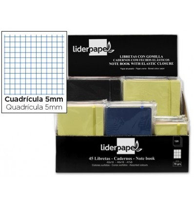 NOTEPAD LEADERPAPER IMITATION LEATHER 120 SHEETS 70G/M2 FRAME 4MM EXHIBITOR 45 PCS ASSORTED COLORS
