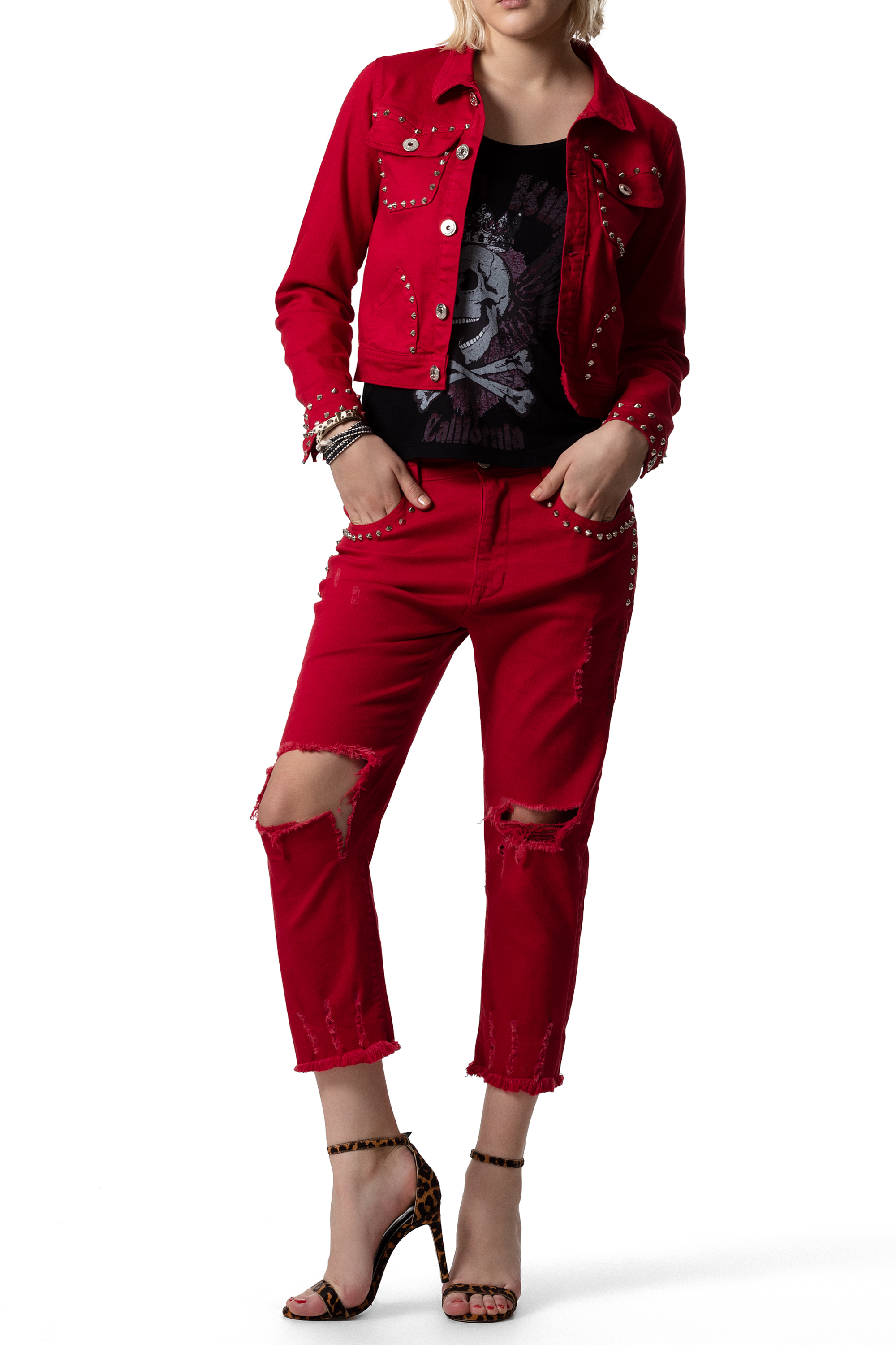 CUPID KILLER COLLECTION Laredo Red color jeans for Women CK000142-2