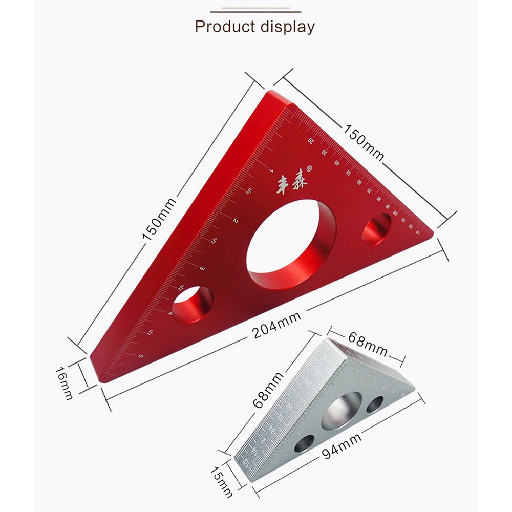 Aluminum Alloy Right Angle Ruler Mini Pocket Square DIY Woodworking Triangle Ruler Height Measuring Gauging Woodworking Tools