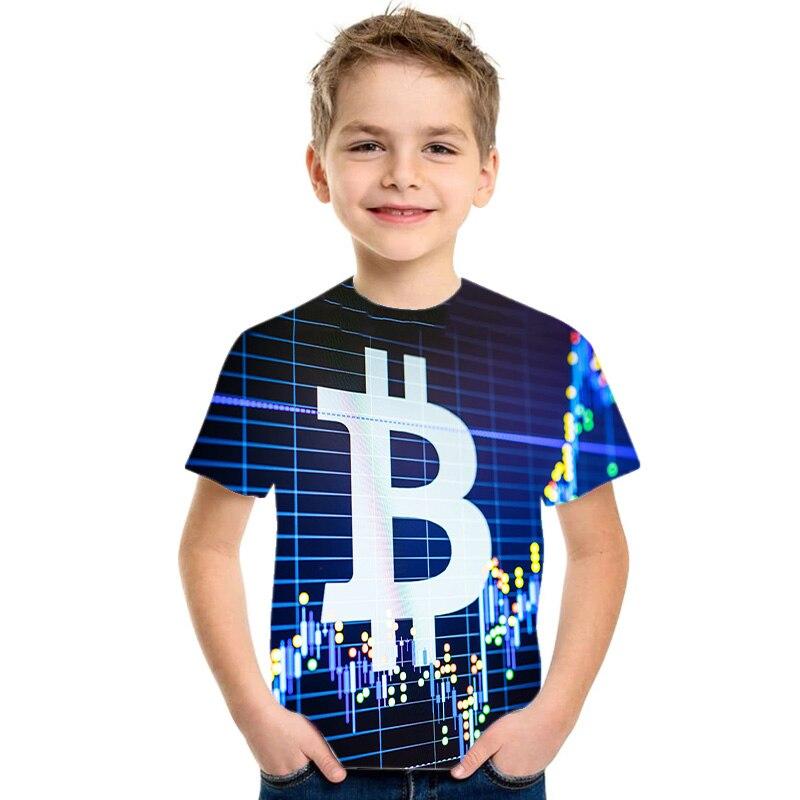 Bitcoin NEW 3D Fashion T-shirts For Baby Boys Summer Short Sleeve O-neck Tshirt Tees Kids Casual Tops Girls T-shirt 4-14T 2021 1