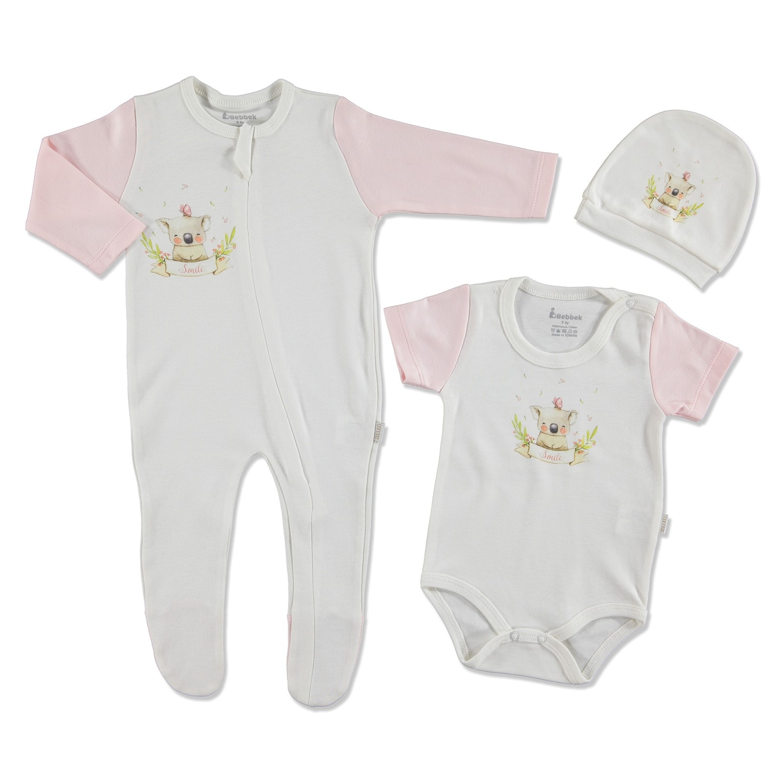 Ebebek Bebbek Summer Baby Girl Sweet Days Romper Bodysuit Hat 3 Pcs Set