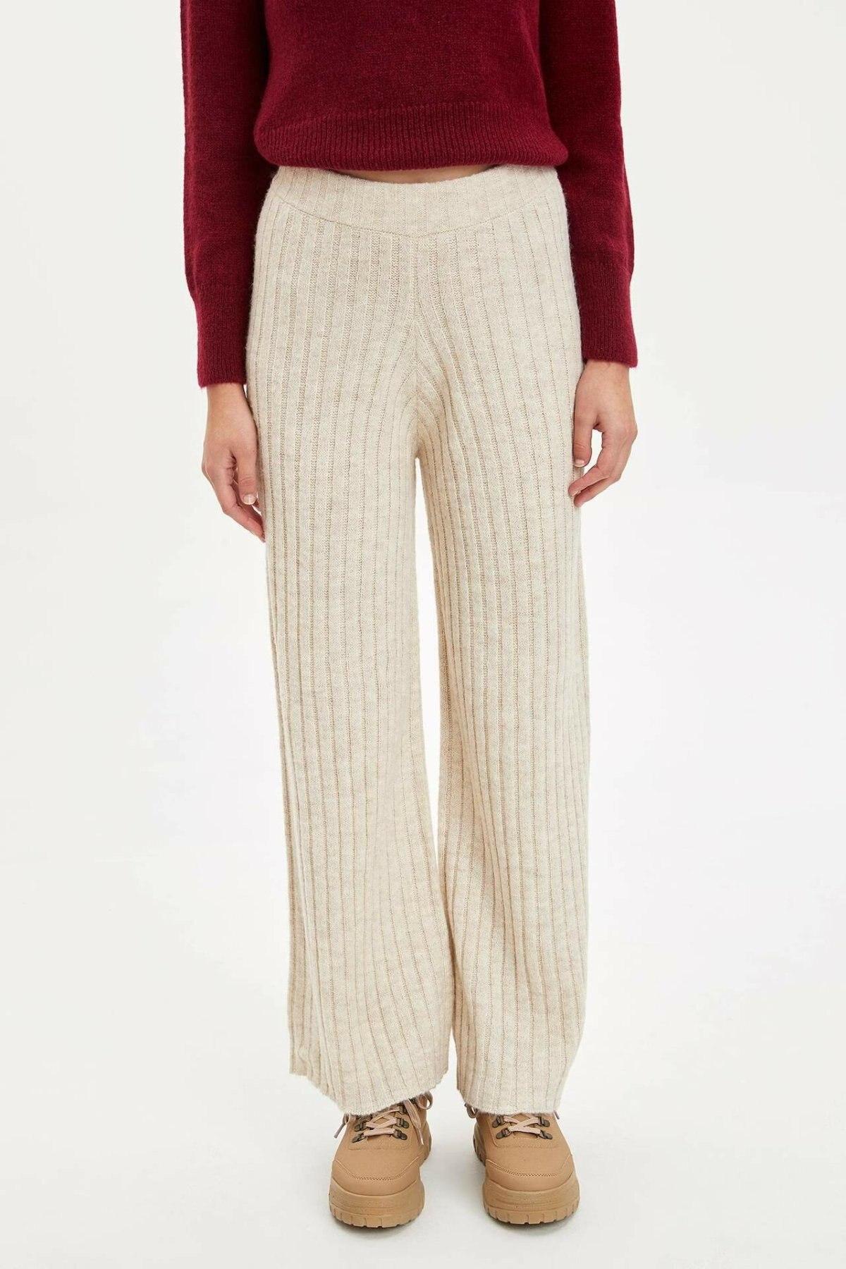 DeFacto Woman Fashion Wide-leg Pants Female Casual Beige Comfort Cotton Trouser High Quality Simple - L9466AZ19WN