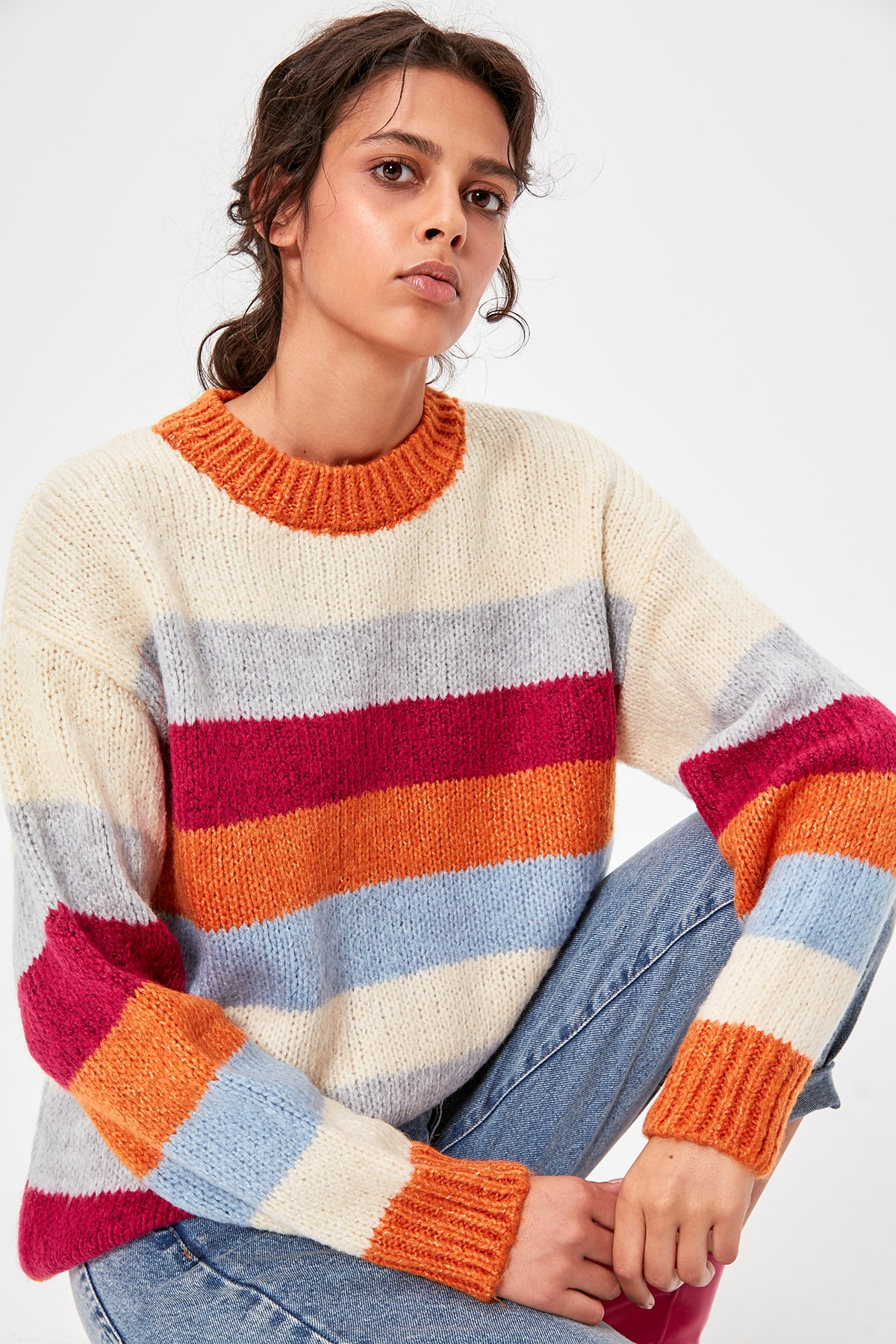 Trendyol Orange Bike Collar Striped Sweater Sweater TWOAW20KZ0205