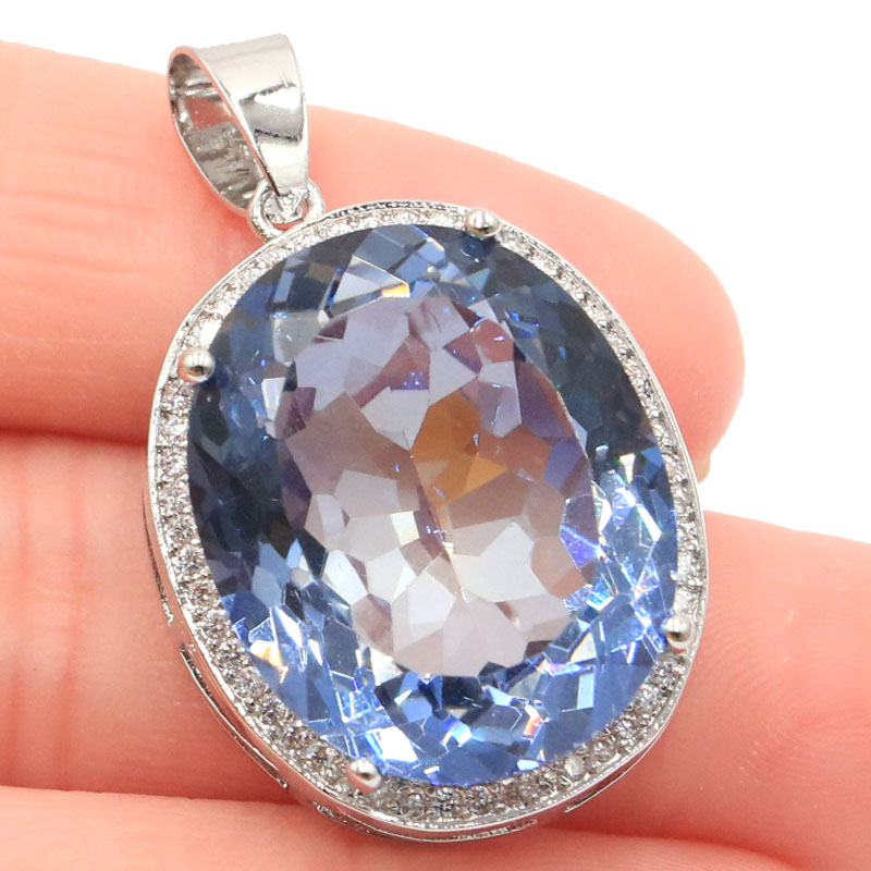 Big Oval Gemstone 22x18mm Fire Rainbow Violet Mystic Topaz Natural White CZ Party Silver Pendant 25x20mm