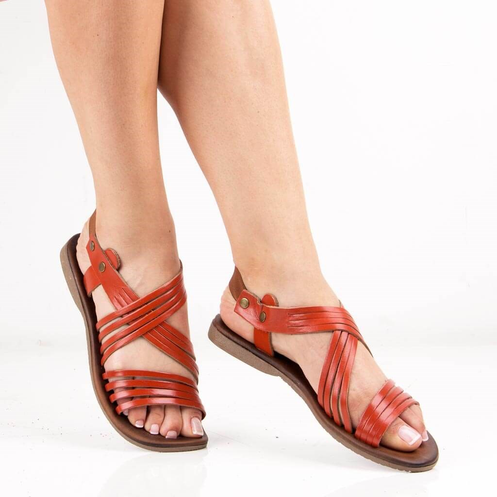 Sail Lakers-Orange Leather Women Sandals
