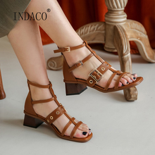 Gladiator Sandals Women 2020 New Leather Women Sandals High Heel Sandals for Women 5cm faux leather mini heel sandals