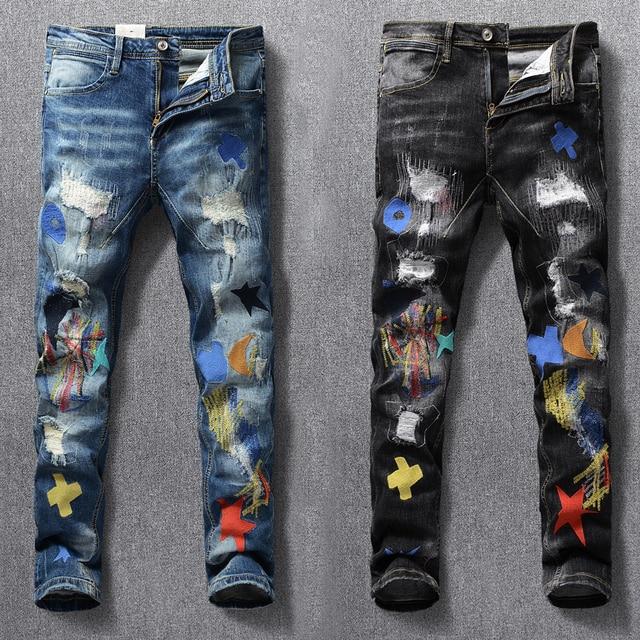 American Streetwear Fashion Men Jeans Elastic Slim Fit Ripped Denim Pencil Pants Homme Patches Designer Stretch Hip Hop Trousers