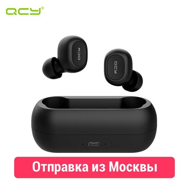 QCY T1c - беспроводные Bluetooth (5.0) наушники с двойным микрофоном и магнитным кейсом