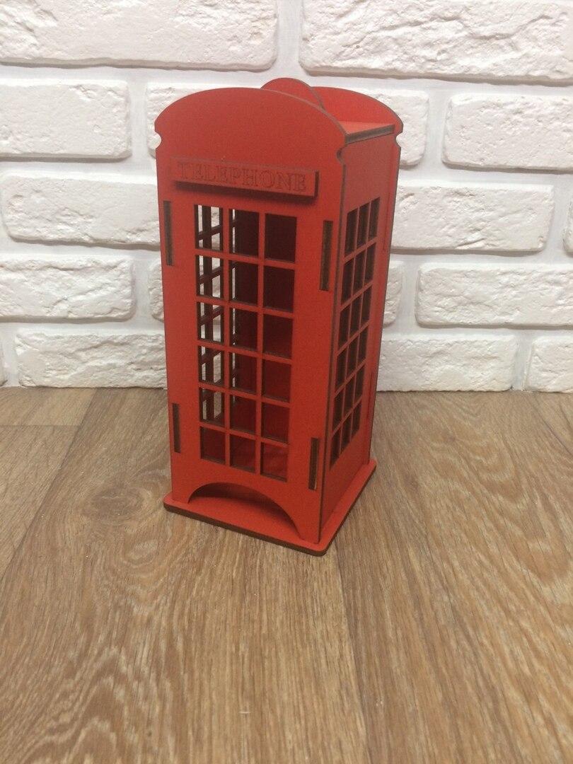 Телефонная будка Лондон красный чайный домик к из дерева 10х10х22 см чайный пакетик коробочка для кухни интерьер