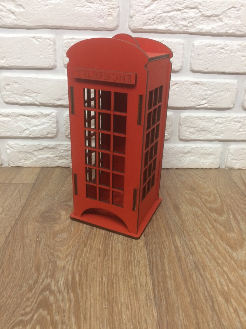 Telephone Box London Red Tea House K Made Of Wood 10x10x22 Cm Tea Bag Box For Kitchen Interior