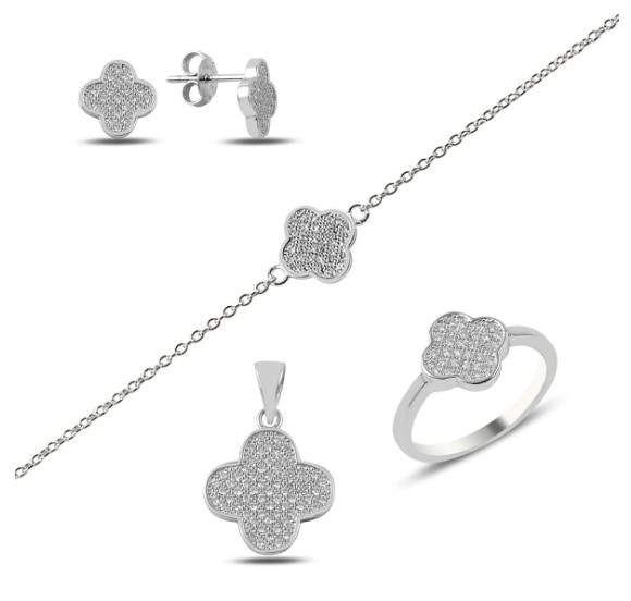 Silver 925 Sterling Clover Set; Bracelet, Earring, Necklace, Ring