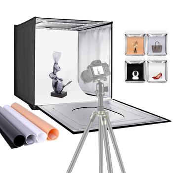 Neewer oświetlenie do studia fotograficznego 24 cale 60cm lampa fotograficzna namiot regulowana jasność składany przenośny profesjonalny stół do stoiska tanie i dobre opinie CN (pochodzenie) 8*60*60 cm 4 7 kg 10096176