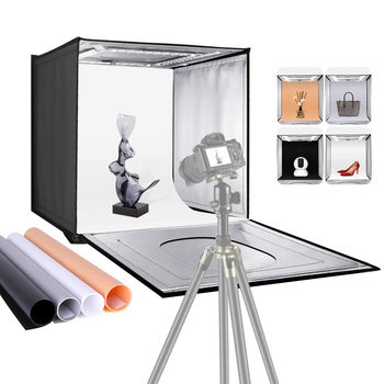 Neewer oświetlenie do studia fotograficznego Box 20 cali 50cm lampa fotograficzna namiot regulowana jasność składany przenośny profesjonalny zestaw stołowy tanie i dobre opinie CN (pochodzenie) 20x20x20 inches 3 95 KG silver reflective fabric 10096172 EU Plug
