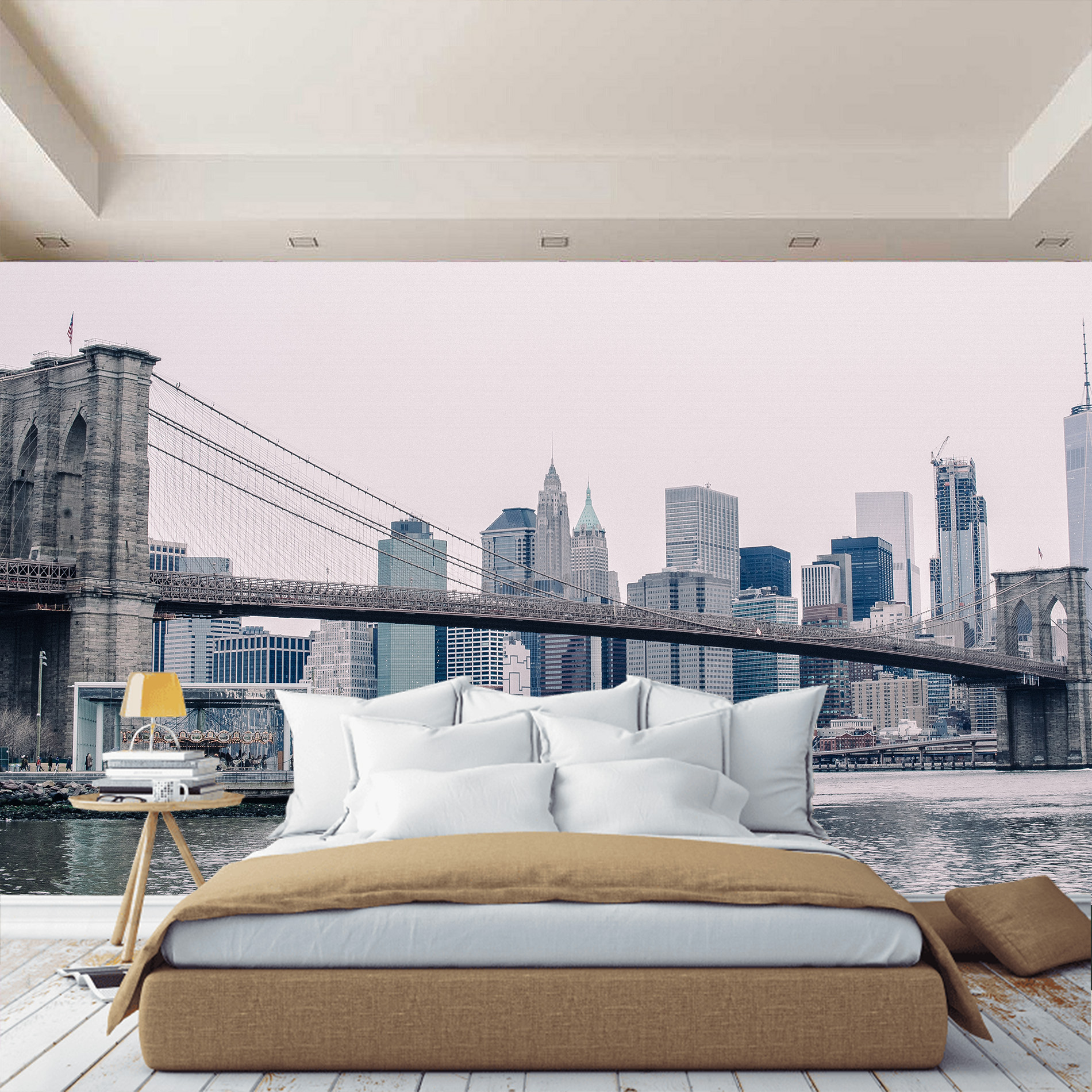 Photo Wallpaper City New York, Brooklyn Bridge. Stereoscopic photo wallpaper for bedroom room home - 4
