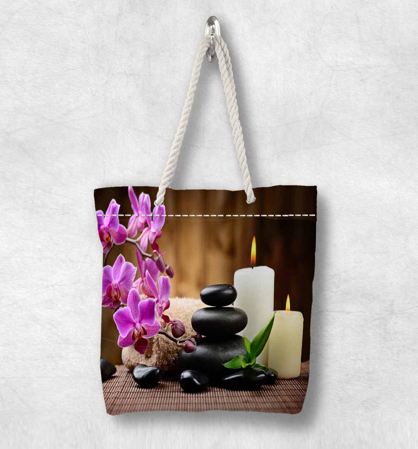 Else Purple Flowers Candle Spa Stones  New Fashion White Rope Handle Canvas Bag Cotton Canvas Zippered Tote Bag Shoulder Bag