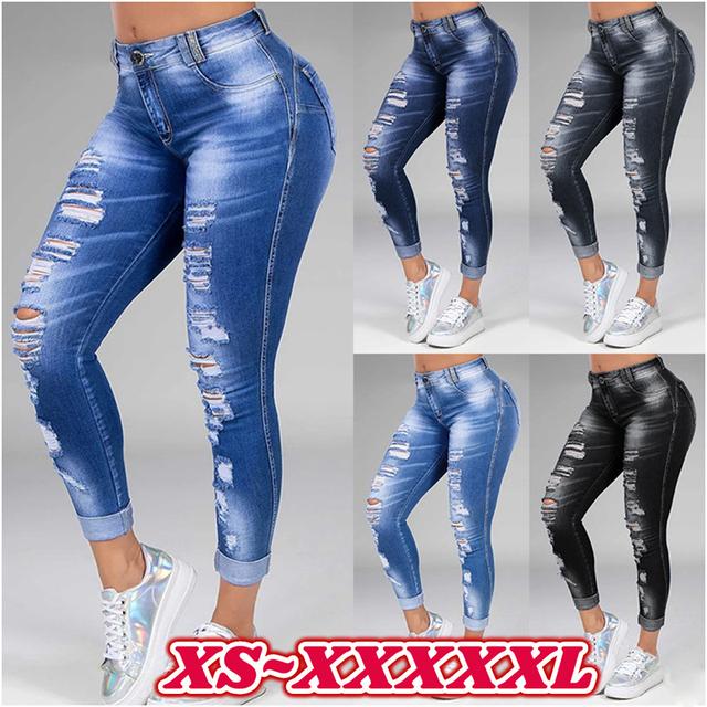 Pantalones vaqueros rasgados desgastados para mujer, pantalón S-5XL de talla grande, de cintura alta, estilo coreano, pitillo, color negro y azul, blanqueados 1
