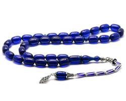 Silber Quasten Kapsel Cut Blau Bernstein Gebet Perlen Modell 2