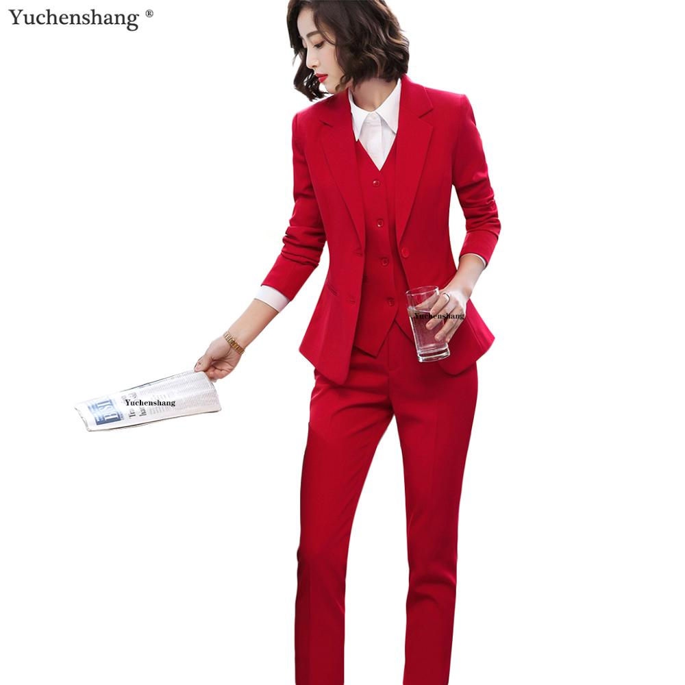 Vest Blazer And Pant 3 Pieces Set Women Pant Suits Office Lady Formal Business Work Career Red Set Suits Uniform Designs 5XL
