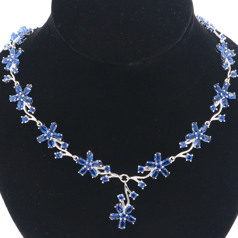 24x13mm Elegant Flower Tanzanite SheCrown Ladies Present Silver Necklace 18 5 19 0inch in Necklaces from Jewelry Accessories