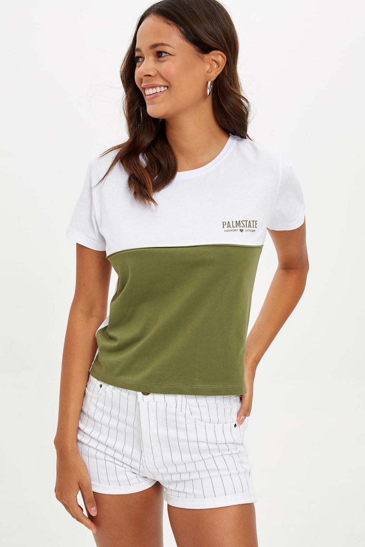 DeFacto Summer Women Striped High Waist Short Pants Female Cotton Casual Simple Short Simple Bottoms - M4729AZ19HS