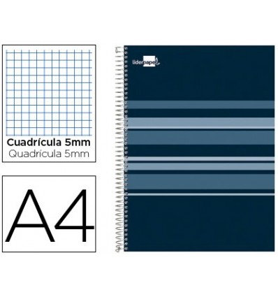 SPIRAL NOTEBOOK LIDERPAPEL A4 MICRO CLASSIC LINED CAP 160H 60 GR TABLE 5MM 5 BANDS 4 DRILLS BLUE OIL