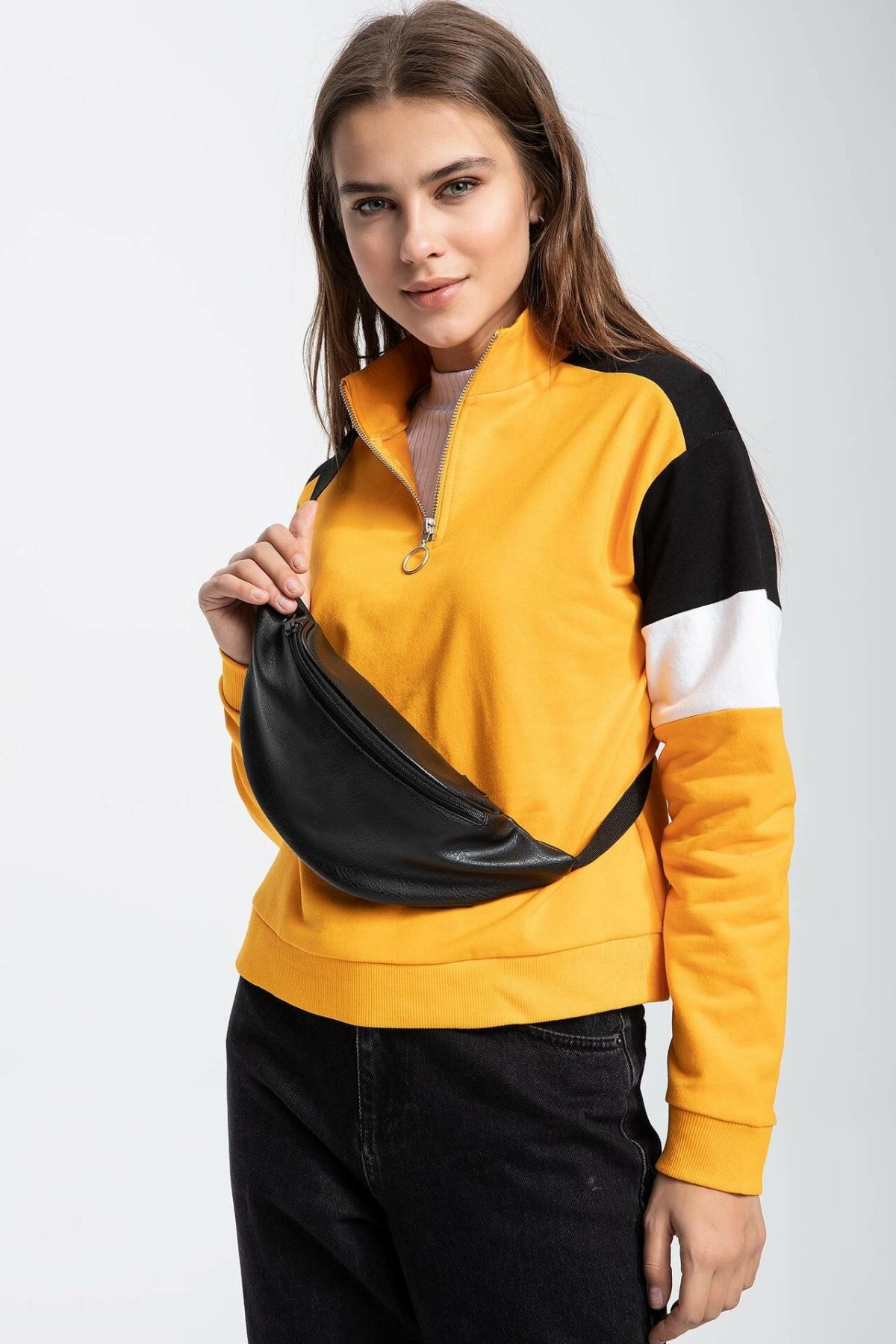 DeFacto Women Fashion Knitted Pullovers Patchwork Casual Pullover Long Sleeves Women Tops Autumn New -K7218AZ18CW