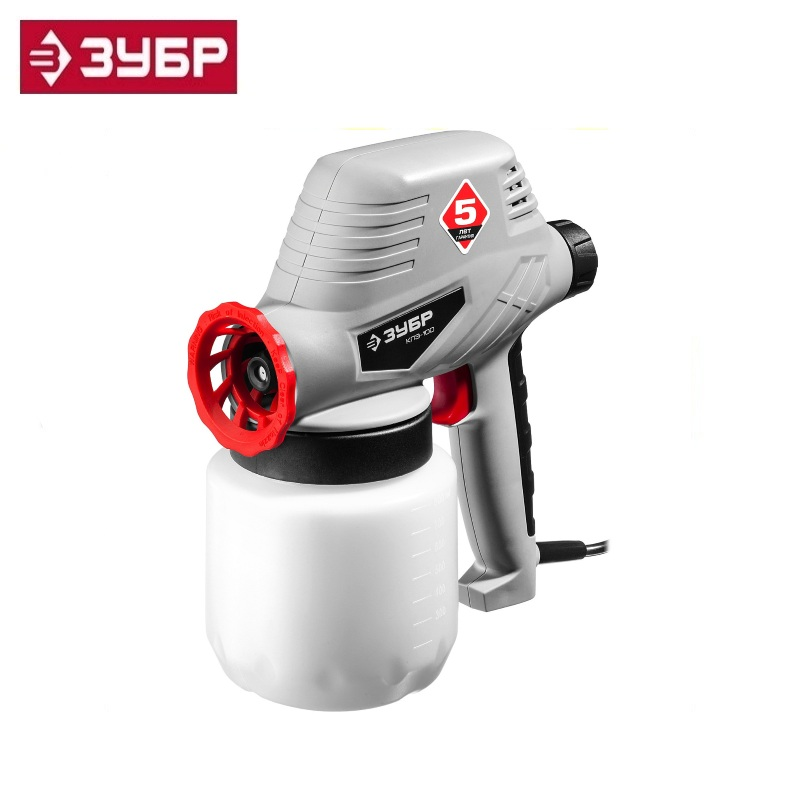 Electric spray gun (spray gun) electric, ZUBR KPE-100, 0.8 l, spray gun 0-300ml / min, paint viscosity 60 DIN / s, nozzle 0.8mm