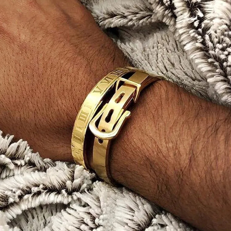 gold bangle Stainless steel bangle Men bracelet Titanium Adjustable Opening cuff Charm jewelry pulseras hombre luxury jewelry