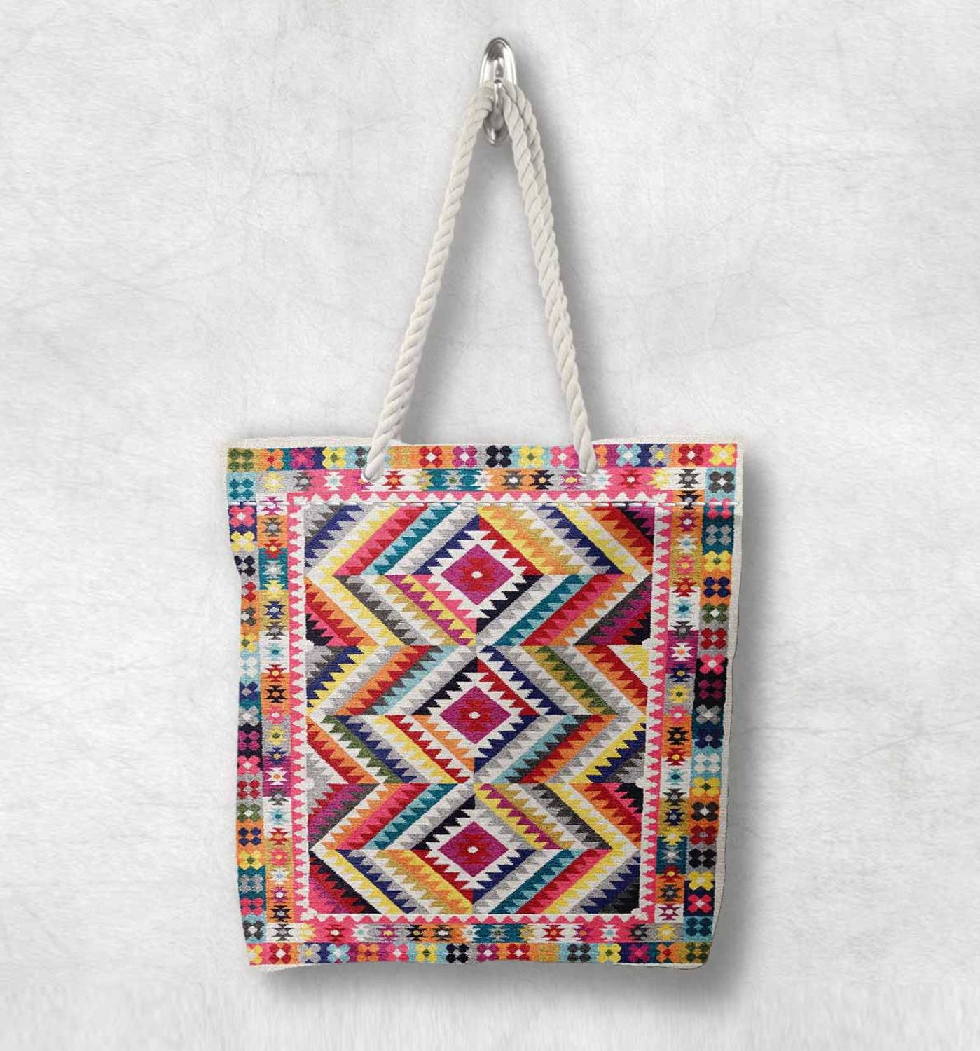 Else Colored Lines Turkish Kilim Design New Fashion White Rope Handle Canvas Bag Cotton Canvas Zippered Tote Bag Shoulder Bag