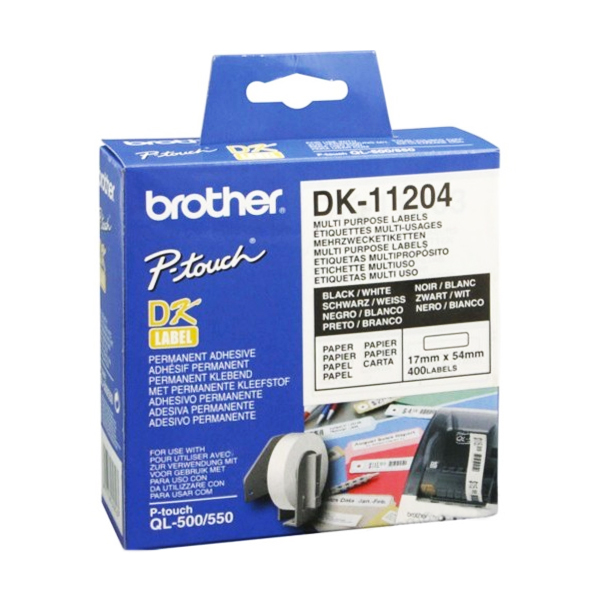 Multipurpose Printer Labels Brother DK11204 17 X 54 Mm White