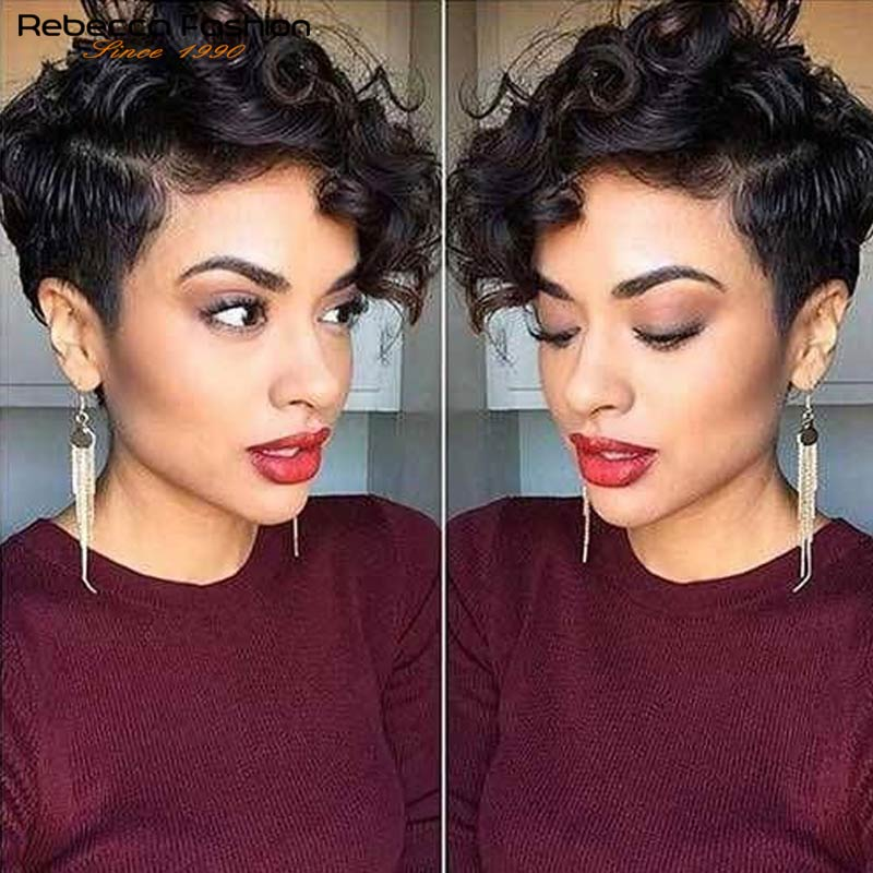 Rebecca Lace Part Hair Short Kinky Curly Wigs For Women Bouncy Curly Brazilian Human Hair Lace Wig Short Curly Short Straight