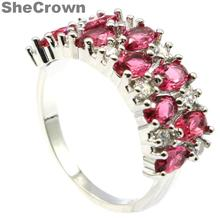 22x9mm 2019 New Arrival Created Pink Raspberry Rhodolite Ganet CZ Gift Silver Rings