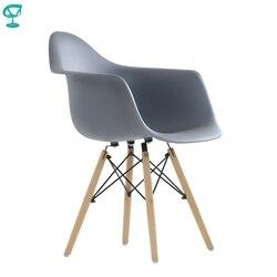 95724 Barneo N-14 серое пластиковое кухонное кресло на деревянном основании интерьерное кресло мебель для кухни обеденный стул для гостиной кресл...